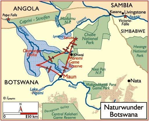 Botswana Flugsafari Naturwunder Botswana Übersichtskarte Iwanowskis Reisen - afrika.de