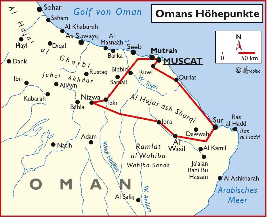 Oman Rundreise Gruppenreise Muskat Muscat Maskat Übersichtskarte Iwanowskis Reisen - afrika.de