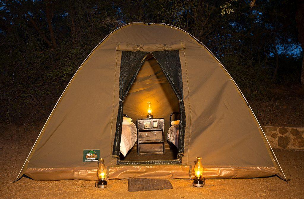 Südafrika Krüger Nationalpark Pretoriuskop Camp Kuppelzelt Iwanowskis Reisen - afrika.de