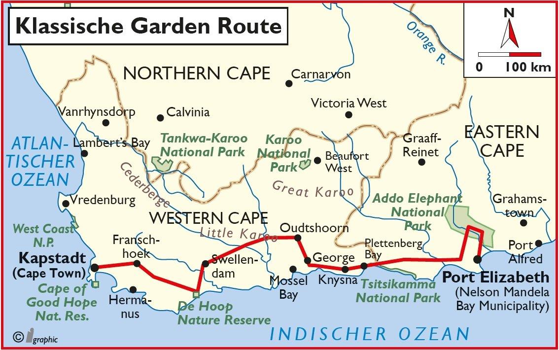 Karte Südafrika Garden Route.Südafrika Mietwagenreise Klassische Garden Route Südafrika