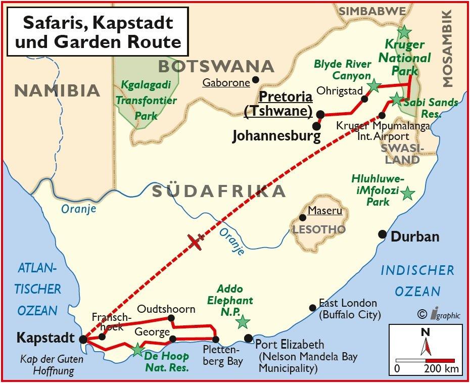 Südafrika Safaris Kapstadt und Gardenroute Mietwagen-Rundreise Übersichtskarte Iwanowskis Reisen - afrika.de