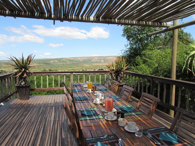 Südafrika Eastern Cape Amakhala Woodbury Lodge Terrasse Iwanowskis Reisen - afrika.de
