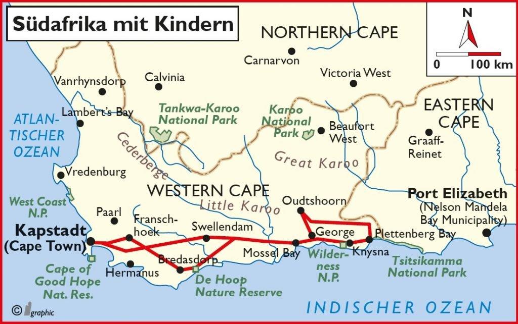 Übersichtskarte Südafrika mit Kindern Iwanowskis Reisen - afrika.de