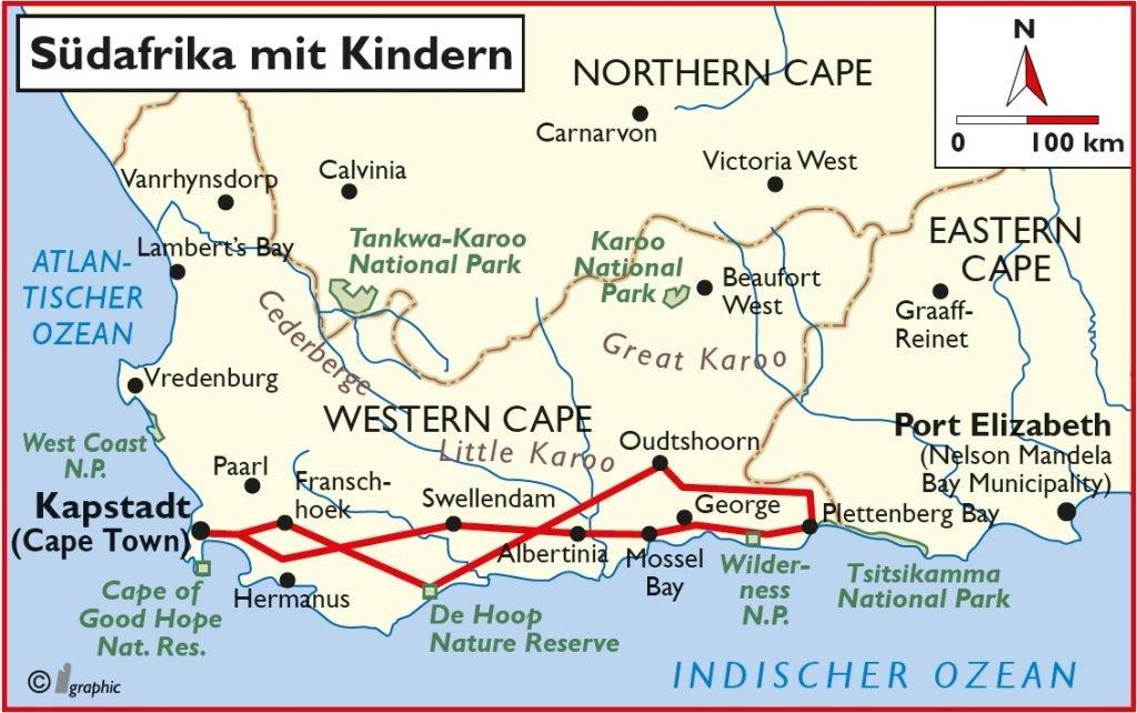 Südafrika Rundreise mit Kindern Übersichtskarte Iwanowskis Reisen - afrika.de
