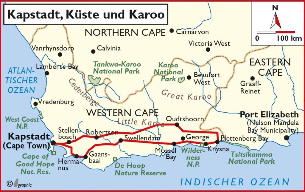 Südafrika Kapstad Küste Karoo Selbstfahrertour Überischtskarte Iwanowskis Reisen - afrika.de