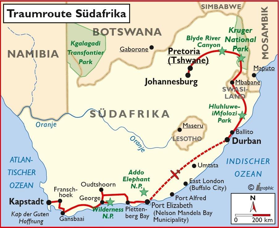 Selbstfahrertour Mietwagen Traumroute Südafrika Iwanowskis Reisen - afrika.de