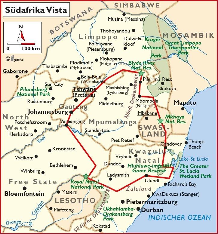 Südafrika Vista geführte Rundreise Übersichtskarte Iwanwoskis Reisen - afrika.de