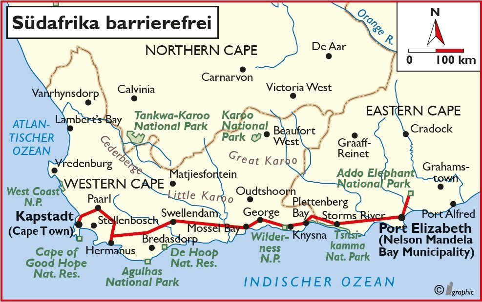 Südafrika barrierefrei Übersichtskarte Iwanowskis Reisen - afrika.de