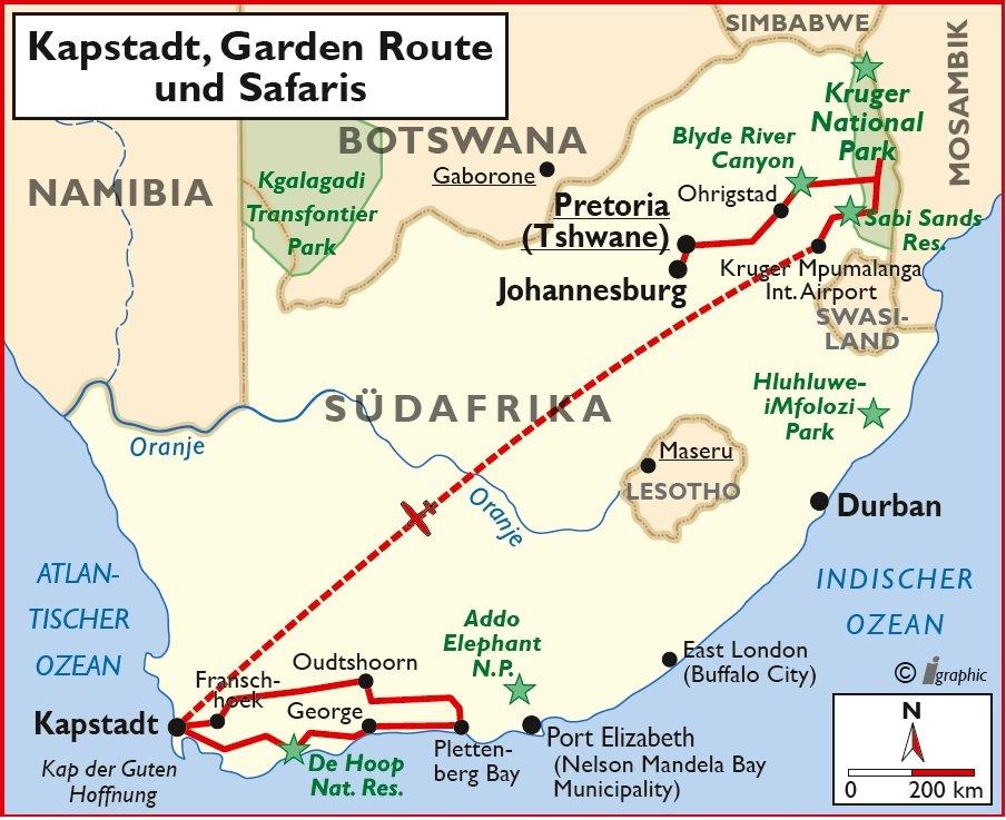 Süpdafrika Mietwagenreise Kapstadt Garden Route Safari Überischtskarte Iwanowkis Reisen - afrika.de