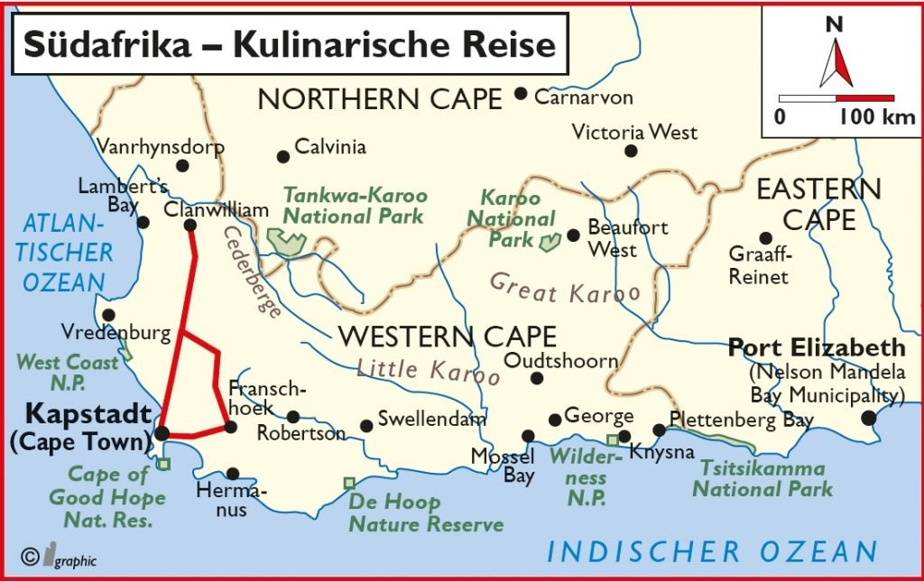Südafrika Kulinarische Reise Übersichtskarte Iwanowskis Reisen - afrika.de
