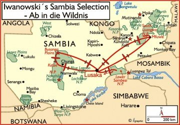 Sambia Iwanowskis Selection Übersichtskarte - afrika.de