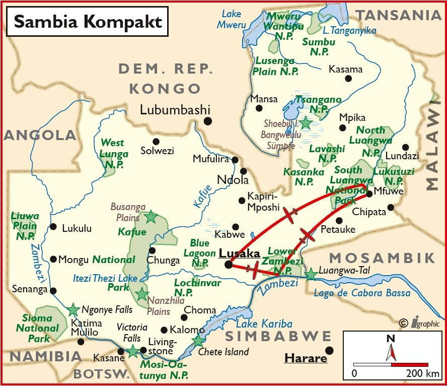 Sambia Rundreise kompakt Lusaka Übersichtskarte Iwanowskis Reisen - afrika.de