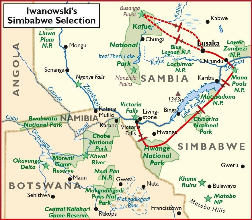 Simbabwe Safari Luxusreise Victoria Falls Lusaka Übersichtskarte Iwanowskis Reisen - afrika.de