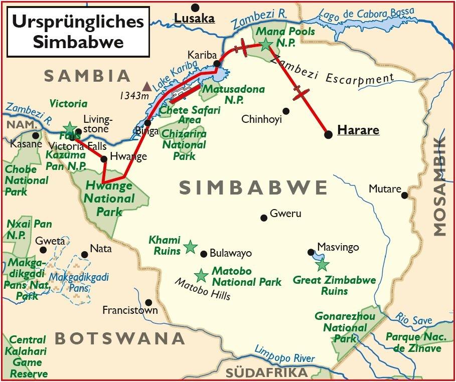 Simbabwe Ursprüngliches Simbabwe Safari Übersichtskarte Iwanowskis Reisen - afrika.de