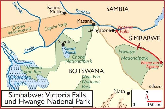 Simbabwe Victoria Falls Hwange Nationalpark Safari Übersichtskarte Iwanowskis Reisen - afrika.de