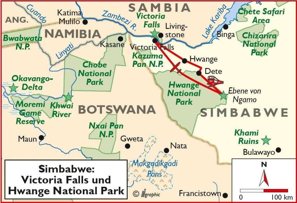 Simbabwe Victoria Falls Hwange National Park Elephant Express Safari Übersichtskarte Iwanowskis Reisen - afrika.de