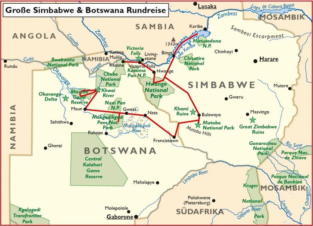 Simbabwe Botswana Rundreise Victoria Falls Maun Übersichtskarte Iwanowskis Reisen - afrika.de