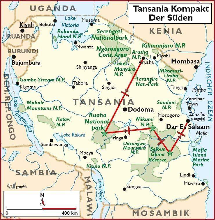Tansania kompakt Süden Flugsafari Übersichtskarte Iwanowskis Reisen - afrika.de