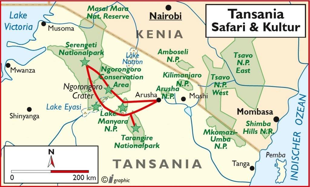 Tansania Safari & Kultur Übersichtskarte Iwanowskis Reisen - afrika.de