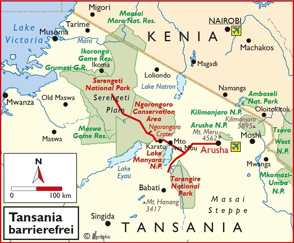 Tansania barrierefreie Safari Übersichtskarte Iwanowskis Reisen - afrika.de