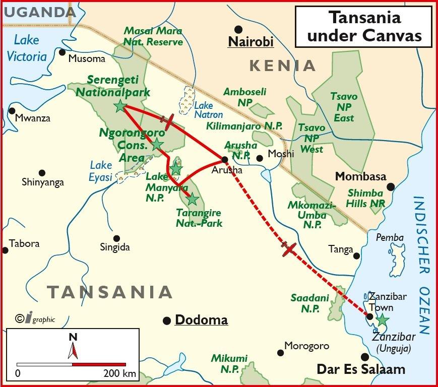 Tansania Rundreise Sansibar Übersichtskarte Iwanowskis Reisen - afrika.de