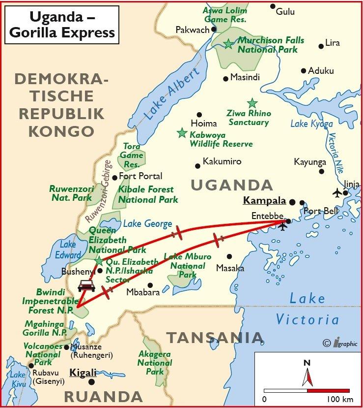 Uganda Flugsafari Rundreise Gruppenreise Übersichtskarte Iwanowskis Reisen - afrika.de