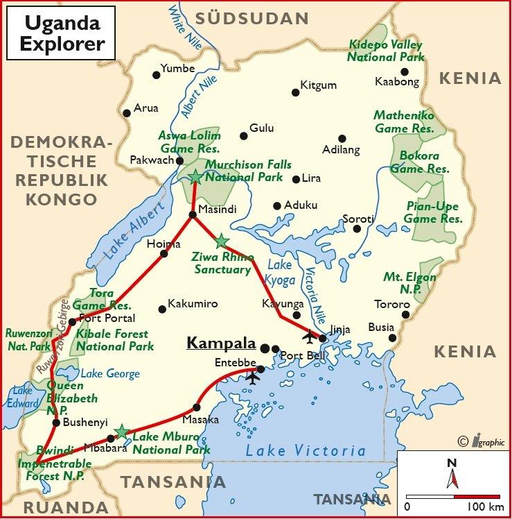 Uganda Campingsafari Übersichtskarte Entebbe Jinja Iwanowskis Reisen - afrika.de