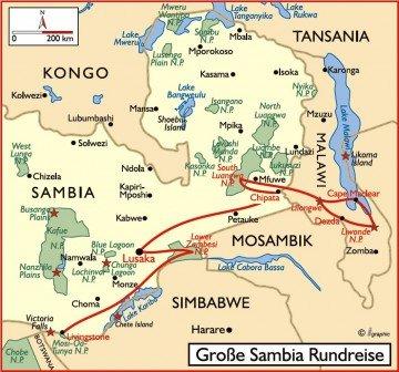 Große Sambia Rundreise Übersichtskarte Iwanowskis Reisen - afrika.de