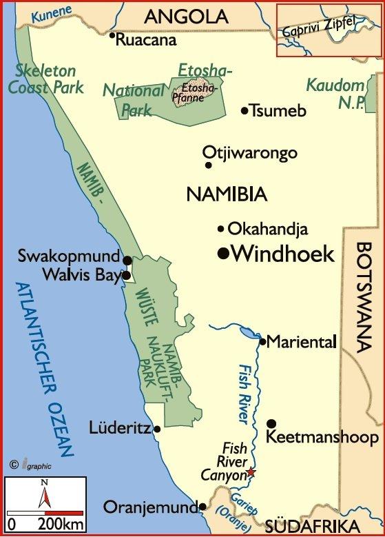 Namibia Karte Iwanowskis Reisen - afrika.de