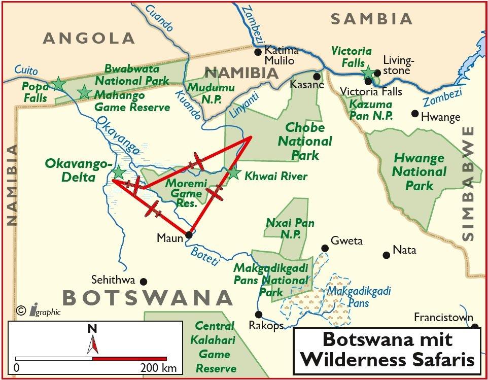 Botswana Flugsafari Wilderness Safaris Maun Okavango Moremi Übersichtskarte Iwanowskis Reisen - afrika.de