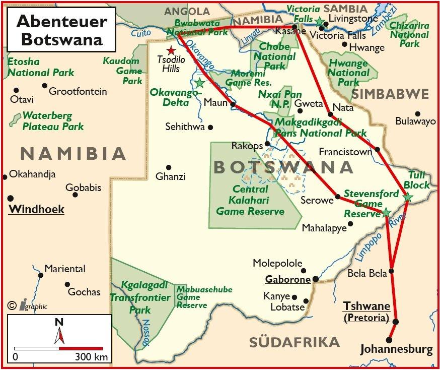 Botswana Abenteuer Selbstfahrertour Rundreise Mietwagentour Übersichtskarte Iwanowskis Reisen - afrika.de
