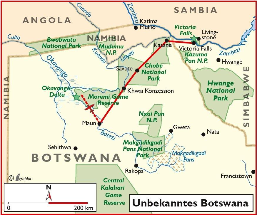 Botswana Selbstfahrertour Rundreise Mietwagentour Übersichtskarte Iwanowskis Reisen - afrika.de