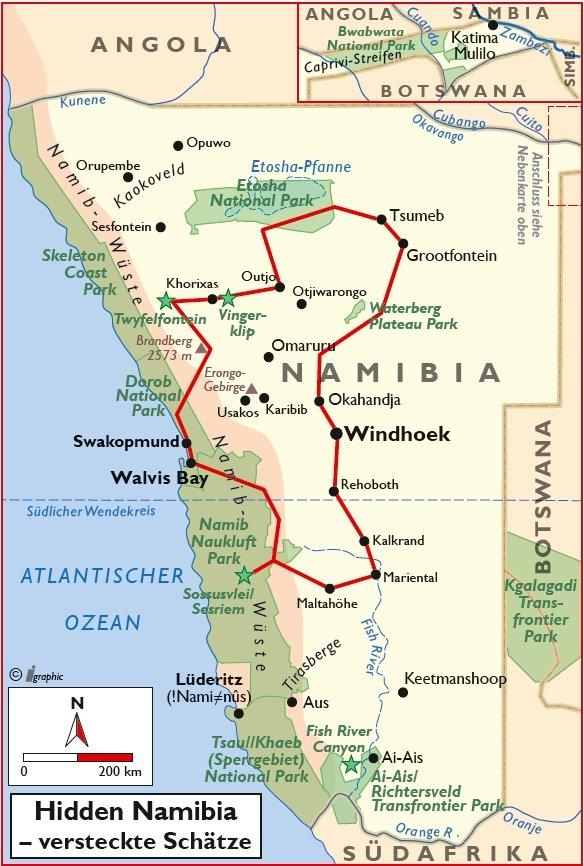Namibia Selbstfahrertour Hidden Namibia versteckte Schätze Übersichtskarte Iwanwoskis Reisen - afrika.de