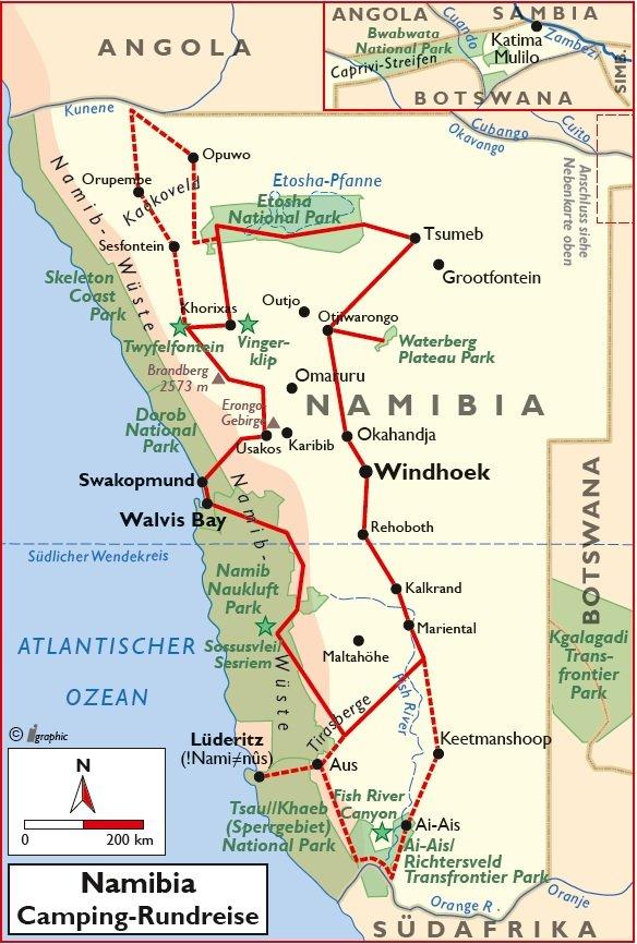 Namibia Selbstfahrertour Camping-Rundreise Übersichtskarte Iwanowskis Reisen - afrika.de