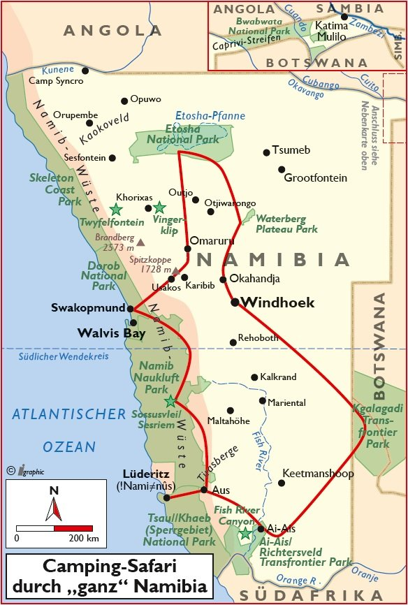 Namibia geführte Camping-Rundreise Safari durch ganz Namibia Übersichtskarte Iwanowskis Reisen - afrika.de