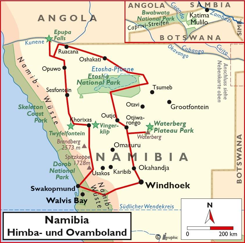 Namibia Selbstfahrertour Himba- und Ovamboland Übersichtskarte Iwanowskis Reisen - afrika.de