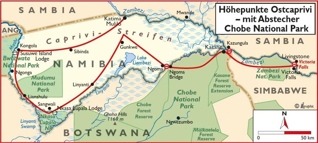 Namibia Safari Höhepunkte Ostcaprivi Übersichtskarte Iwanowskis Reisen - afrika.de