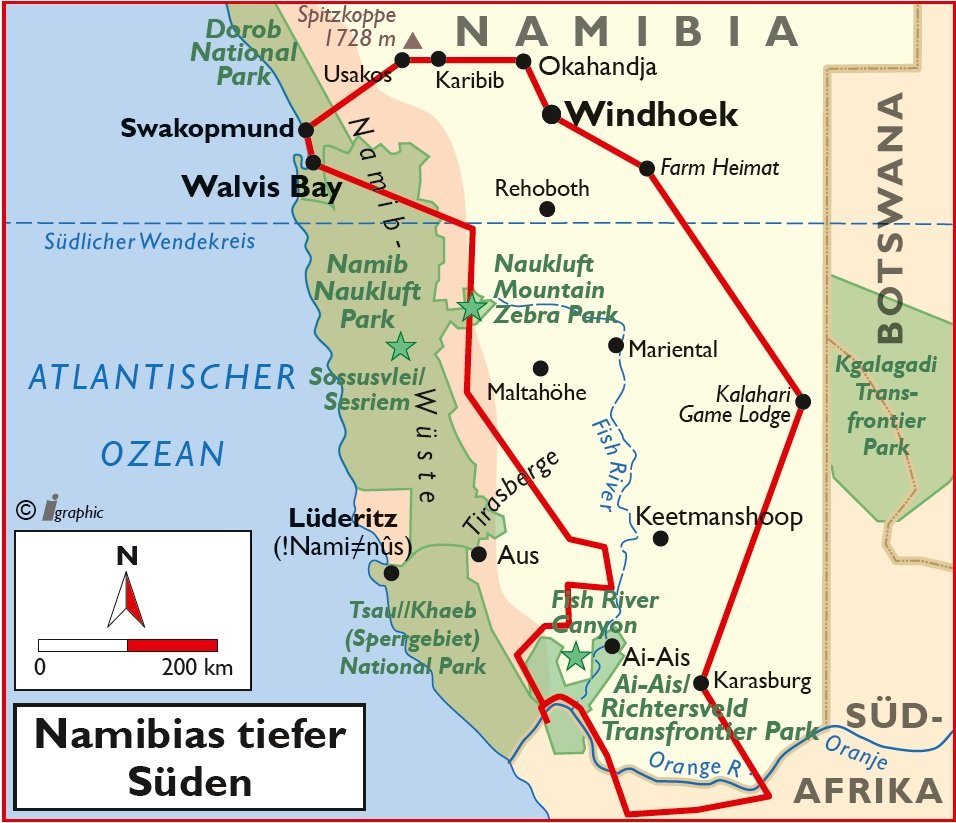 Selbstfahrerreise Namibias tiefer Süden Übersichtskarte Iwanowskis Reisen - afrika.de