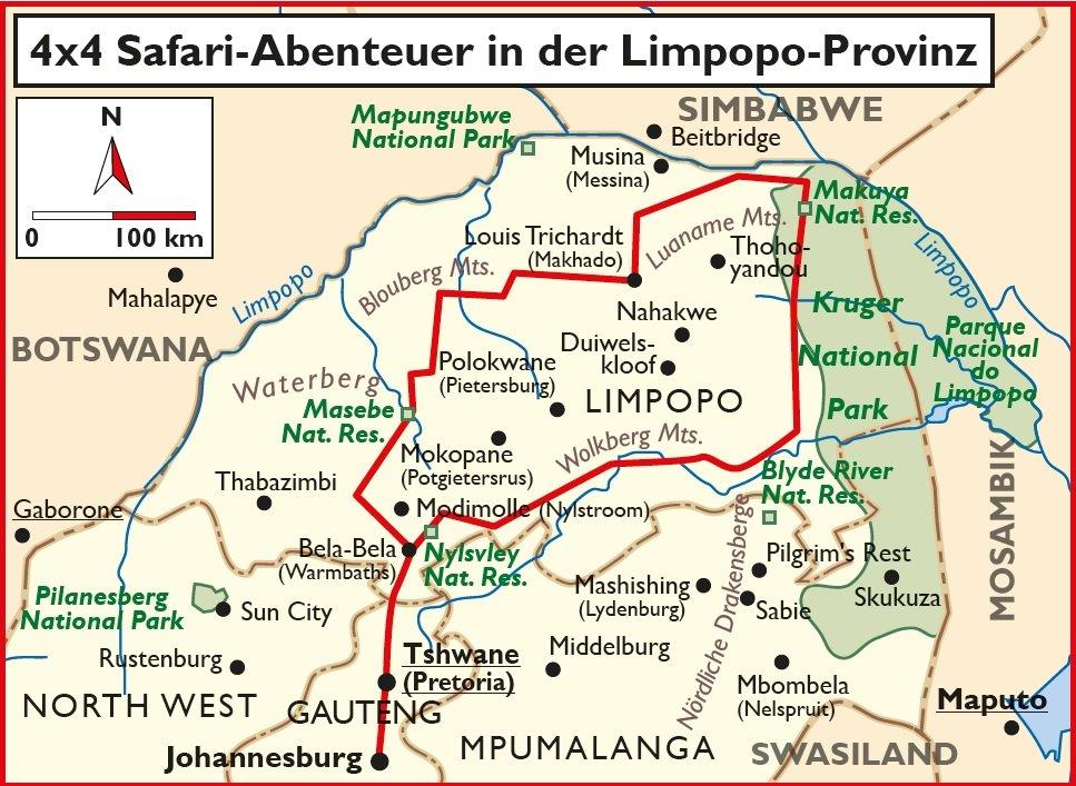 Südafrika 4x4 Safari Abenteuer Limpopo Provinz Übersichtskarte Iwanowskis Reisen - afrika.de