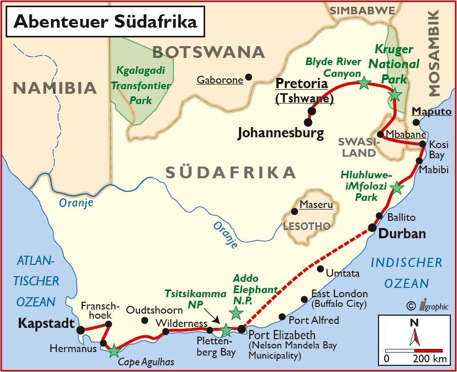 Südafrika Selbstfahrertour Übersichtskarte Iwanowskis Reisen - afrika.de