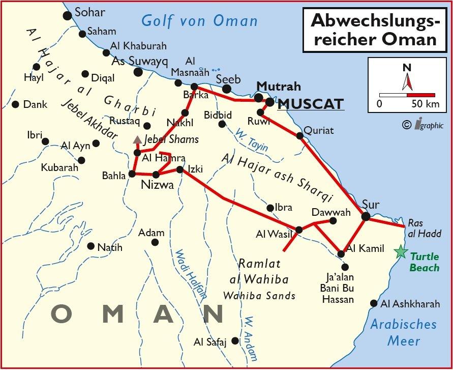 Oman Rundreise Selbstfahrer Mietwagen Allrad Muscat Übersichtskarte Iwanowskis Reisen - afrika.de