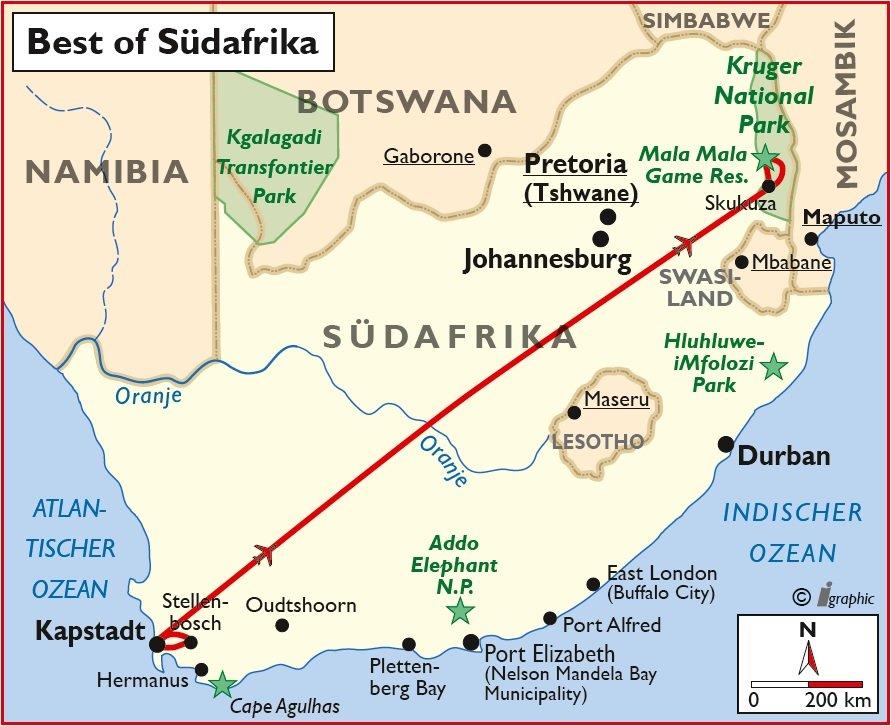Best of Südafrika Selbstfahrertour Übersichtskarte Iwanowskis Reisen - afrika.de