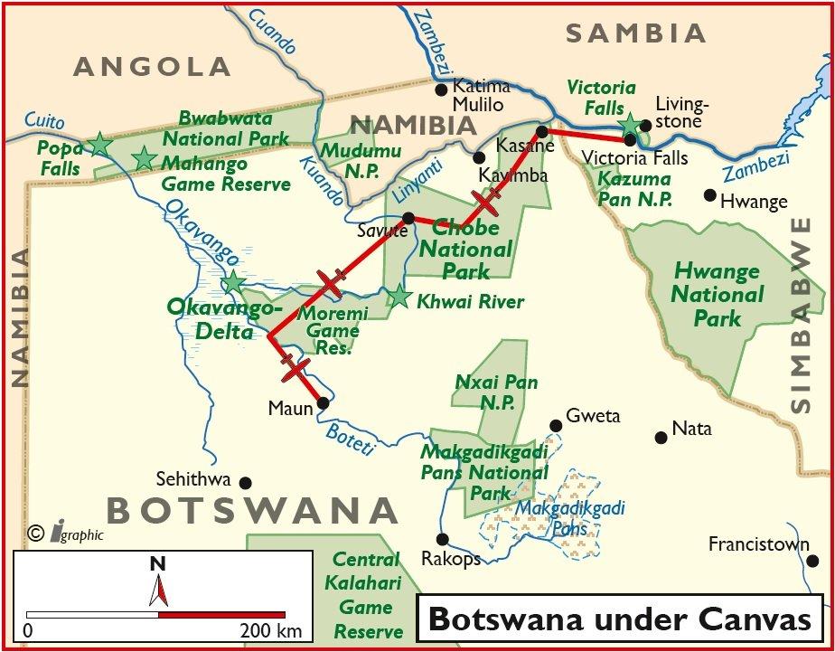 Botswana Flugsafari Zeltunterkünfte Übersichtskarte Iwanowskis Reisen - afrika.de