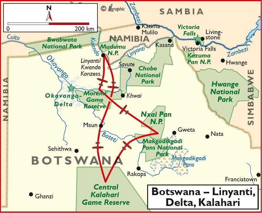 Botswana Linyanti Delta Kalahari Flugsafari Übersichtskarte Iwanowskis Reisen - afrika.de