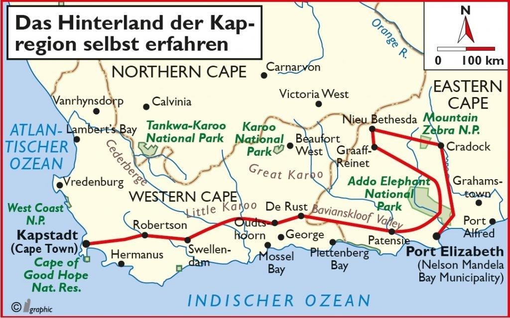 Südafrika das Hinterland der Kapregion Selbstfahrertour Übersichtskarte Iwanowskis Reisen - afrika.de