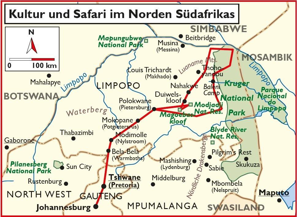 Südafrika Kultur und Safari im Norden Selbstfahrertour Übersichtskarte Iwanowskis Reisen - afrika.de