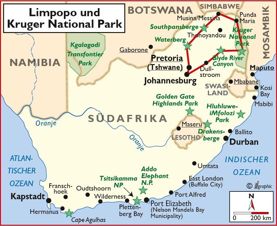 Südafrika Limpopo Krüger National Park Selbstfahrertour Übersichtskarte Iwanowskis Reisen - afrika.de