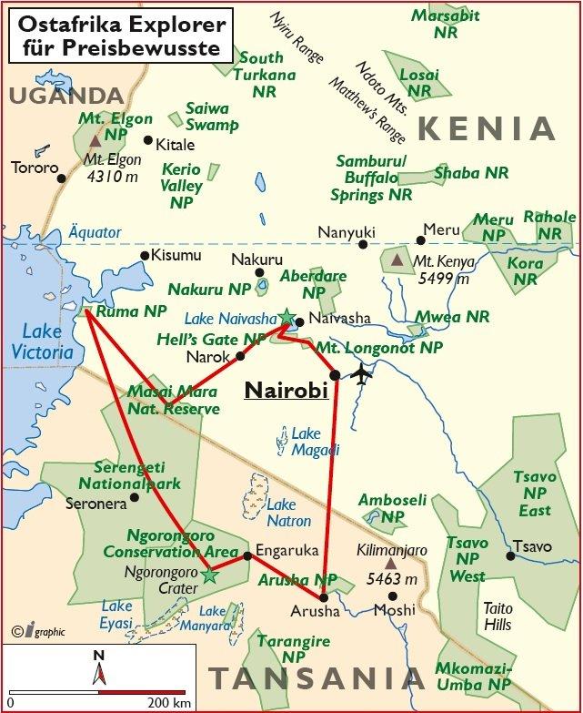Kenia Tansania Ostafrika Explorer Truck Safari Übersichtskarte Iwanowskis Reisen - afrika.de