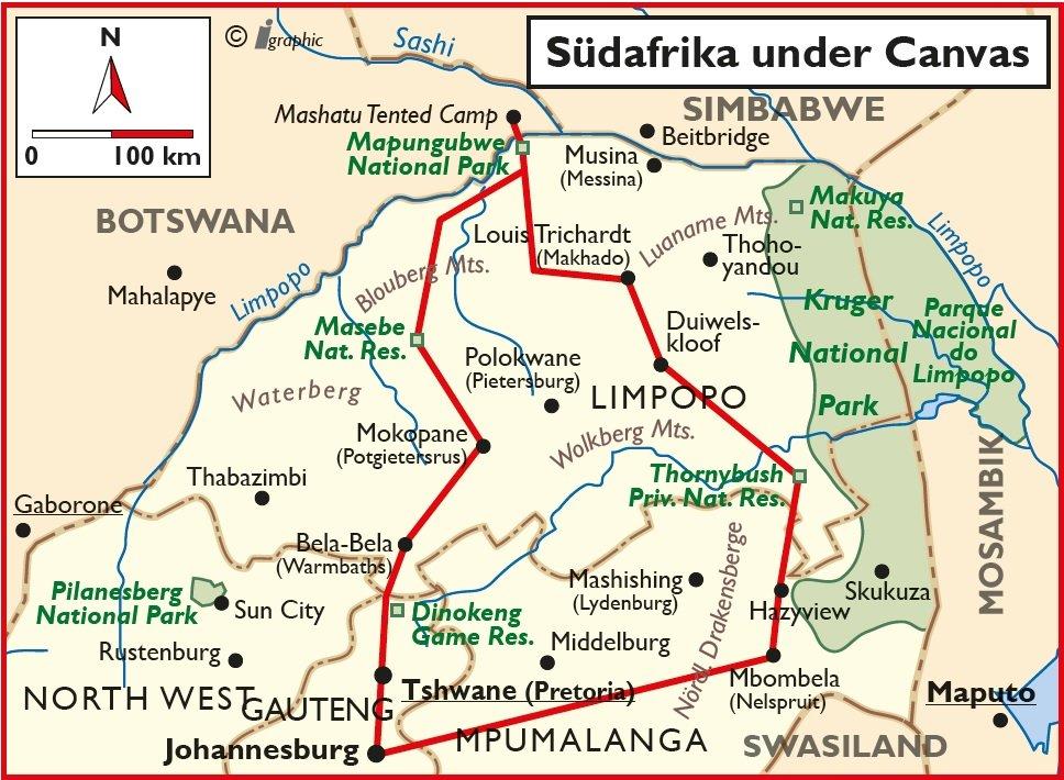 Südafrika Selbstfahrertour Safari under Canvas Übersichtskarte Iwanowskis Reisen - afrika.de