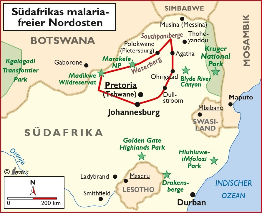 Südafrika malariafrei Nordosten Selbstfahrertour Übersichtskarte Iwanowskis Reisen - afrika.de